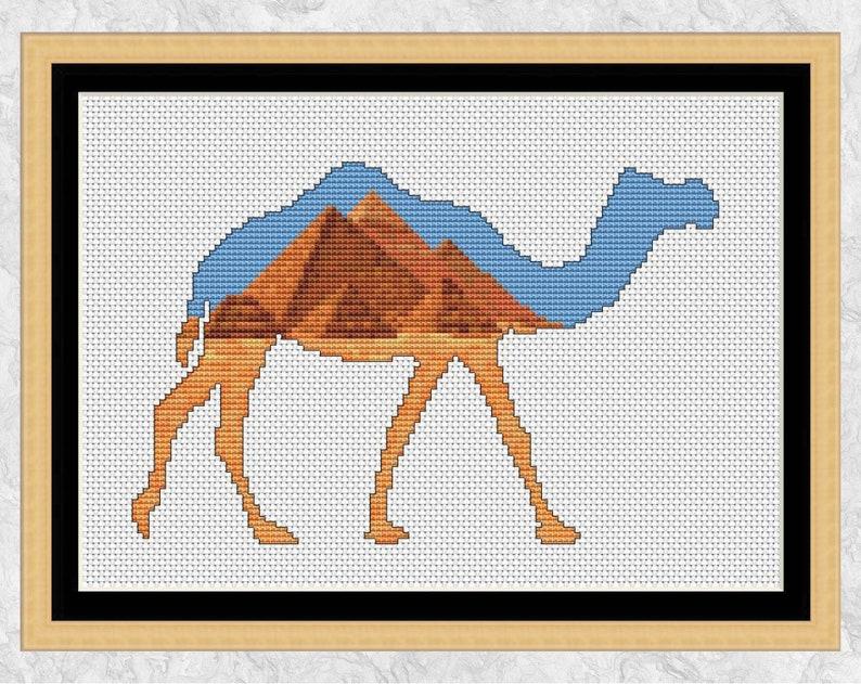 Camel cross stitch pattern Egyptian pyramids Arabian desert image 0