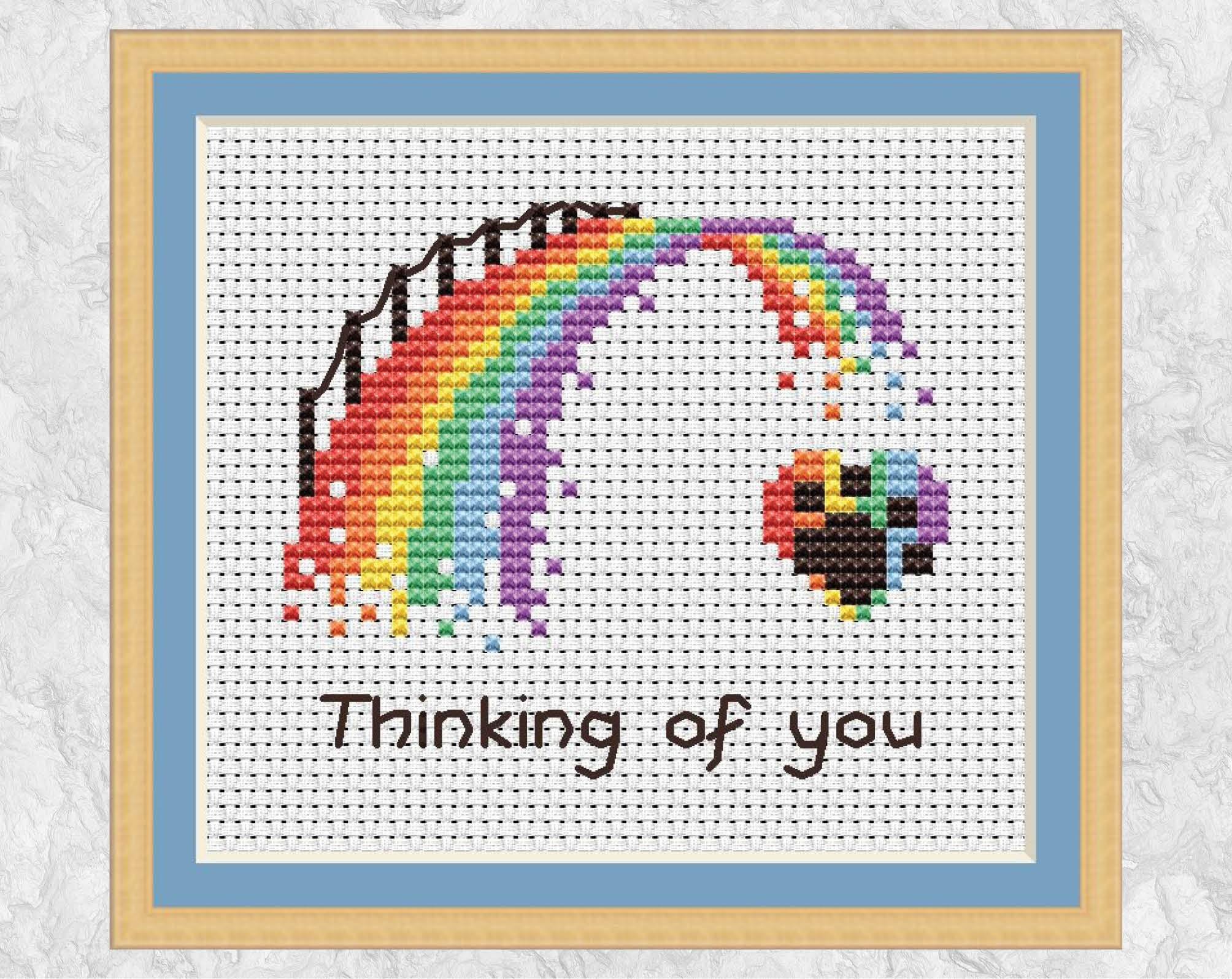 rainbow bridge cross stitch pattern mini pet loss cross