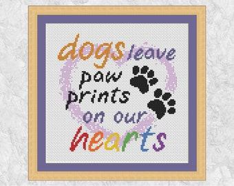 Dog loss cross stitch pattern, paw print quote, rainbow bridge, dog memorial, pet loss, love heart, typography text PDF
