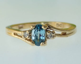 Blue Topaz Ring, Accent Diamonds, 14K Yellow Gold, Child's Ring, November Birthstone, Pinky Ring, Solid Gold, Blue Gemstone, Size 3.5