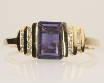 Emerald Cut Purple Gemstone Vintage Ring, 14K Gold, Iolite Gem, Small Diamonds, Size 6.75, Right Hand Ring, Gift for Wife, Graduation Gift
