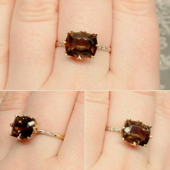 10K Gold Smoky Topaz Ring Vintage Gold Ring Rectangle Chocolate Gemstone Promise Ring November Birthstone East West Ring Size 7.5