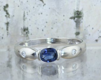 14K White Gold Sapphire Ring, Oval Sapphire, Sapphire and Diamond, Anniversary Band, Sapphire Wedding Ring, September Birthday Gift, Size 6