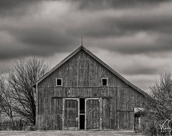 Barn Fine Art Print Old Photo Rustic Photography Black And White Country Farmhouse Decor Wall