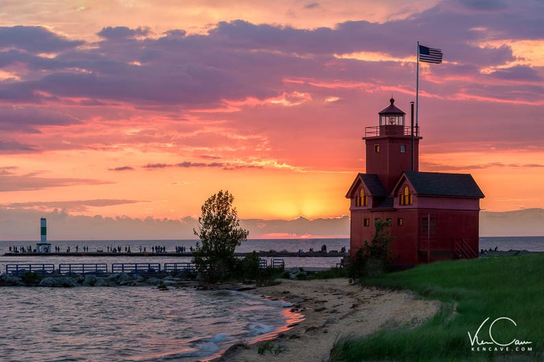 Big Red Lighthouse Photo Holland Michigan Photo Lighthouse Photo Lighthouse Sunset Print Ottawa Beach Sp Lighthouse Photo Art