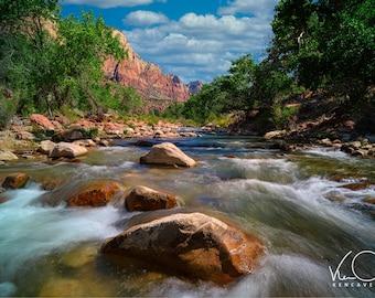 Zion National Park, Virgin River, Travel Photo, Canvas Print, Home Decor,River Photograph, Fine Art Photography, Large Print Photography