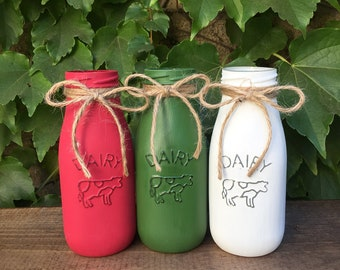 milk bottles christmas colors christmas decor christmas gifts holiday decor centerpiece green and red rustic decor themes