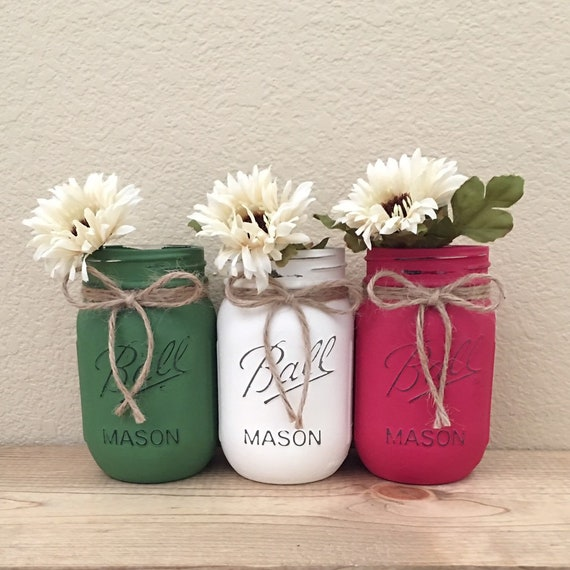 mason jars christmas colors christmas decor christmas gifts holiday decor centerpiece green and red mason jar decor pint