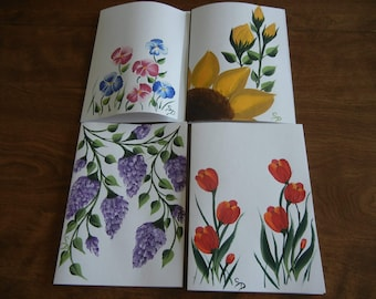 Hand Painted Flower Note Cards