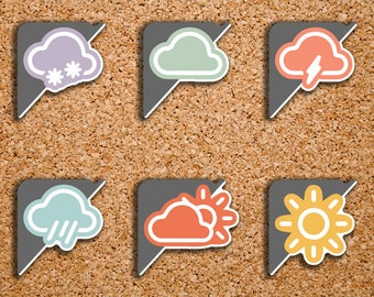 48 Weather Sampler Corner Label | Sunny, Rain, Partly Cloudy, Snow, Lightening, Cloudy | Stickers for 2017 Inkwell Press IWP-S76