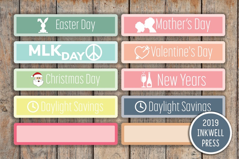 Federal Holiday Christmas 2019.2019 Federal Holiday Notable Dates Monthly Planner Stickers For 2019 Inkwell Press Planners Iwp T7