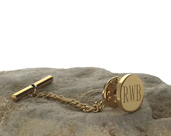 Personalized Customized 14K Gold Plated Infinity Round Stainless Steel Tie Tack Pin, Monogram Gift for Man, Husband, Dad, Groom, Groomsmen