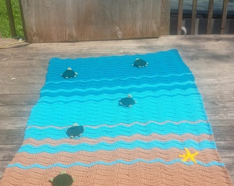 Sea Turtle Blanket Crochet, Sea Turtle Blanket, Crochet Sea Turtle Blanket, Sea Turtle Crochet Blanket, Sea Turtle Afghan, Sea Blanket