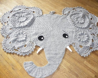Crochet elephant Rug, Nursery decor, Home decor, Elephant Play Mat