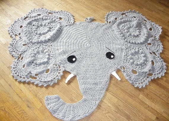 Gehäkelter Elefant Teppich Kinderzimmer Wohnkultur Etsy