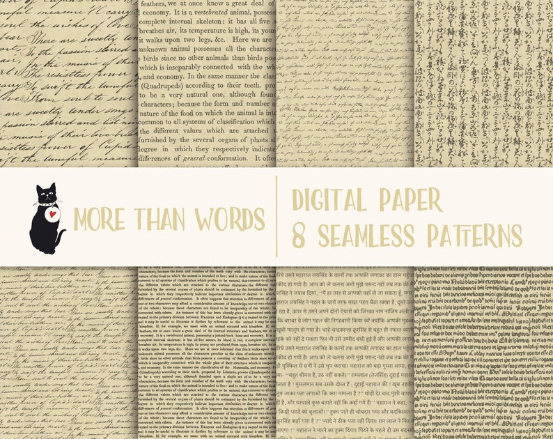 Hand written & printed text - Instant download digital paper, seamless  pattern, scrapbooking supply, background, printable, commercial use