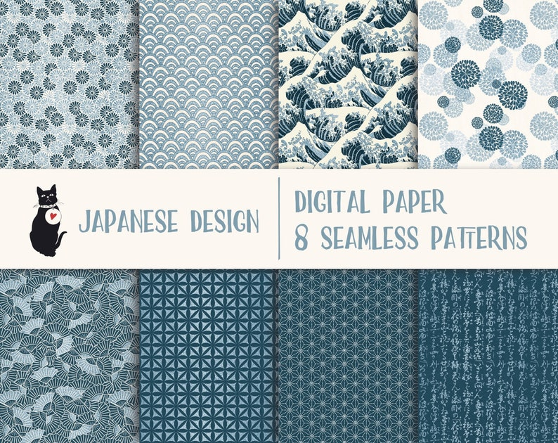 Japanese Designs - Instant download digital paper, blue with glitter,  seamless pattern, scrapbooking supply, background, commercial use