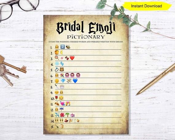 Bridal Shower Emoji Game Instant Download Etsy