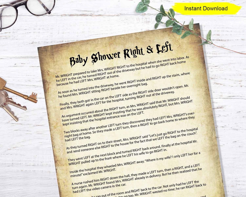 Baby Shower Right and Left Game - INSTANT DOWNLOAD - printable digital  activity story ice breaker icebreaker gender reveal