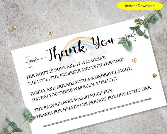 Digital DIY Wedding Briday Baby Shower S1316 Printable Thank You Card Bundle Instant Download Gratitude Greeting Card Thanks E-Card