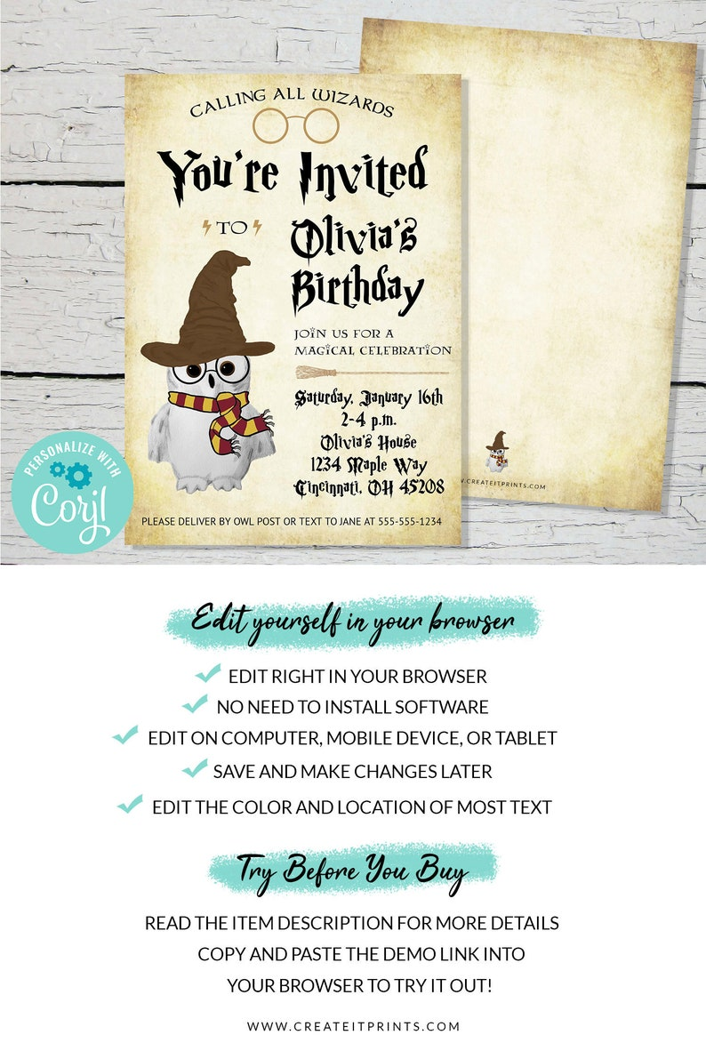 Birthday Party Editable Invitation  INSTANT DOWNLOAD image 0