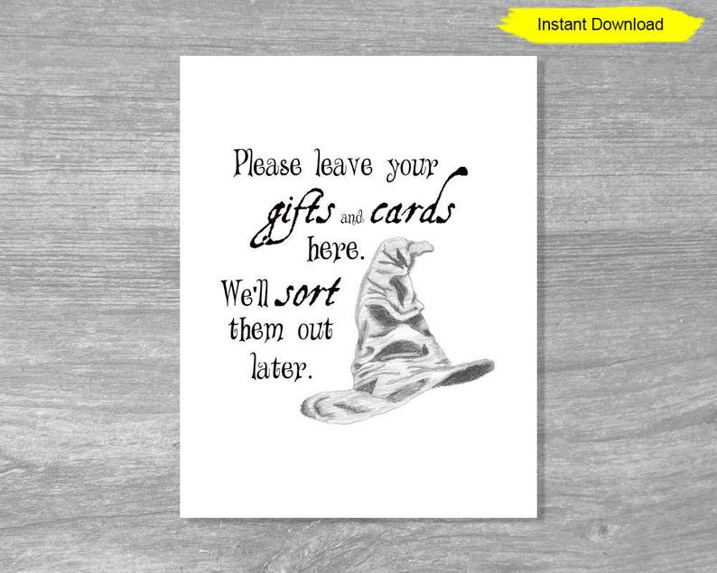 Sorting Hat Gift and Card Sign  INSTANT DOWNLOAD  bridal image 0