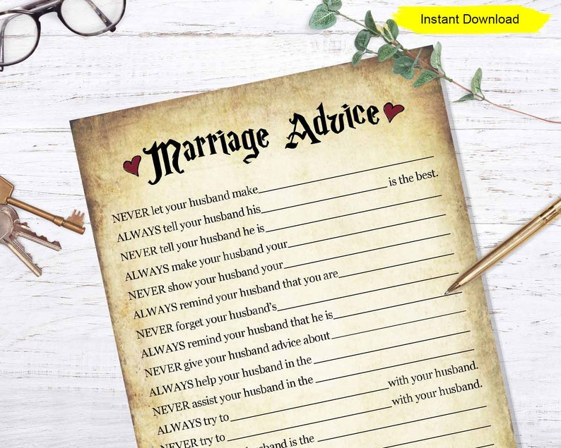 Marriage Advice game  INSTANT DOWNLOAD  bridal shower image 0