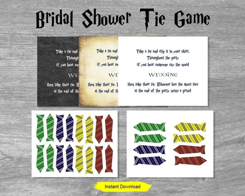 Bridal Shower Tie Game  INSTANT DOWNLOAD  printable wedding image 0