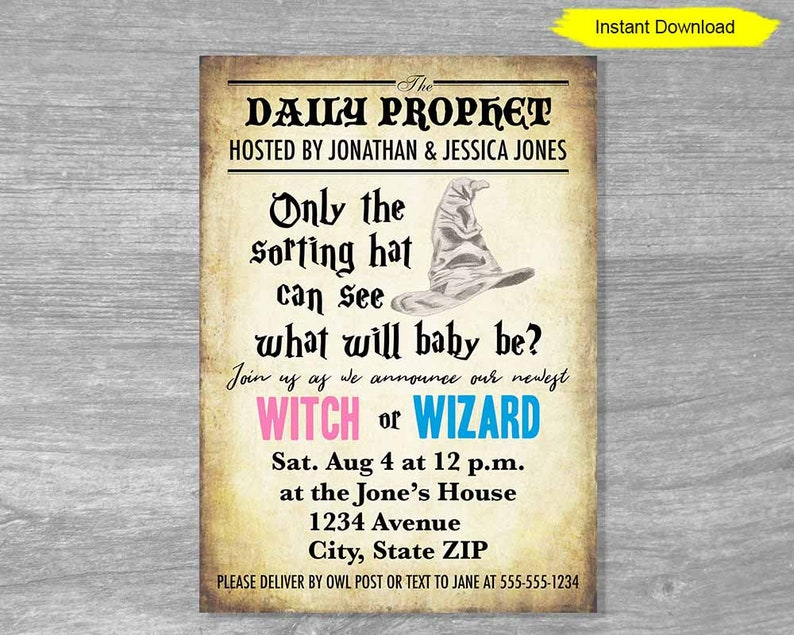Gender Reveal Witch or Wizard Editable PDF Template Invitation image 0
