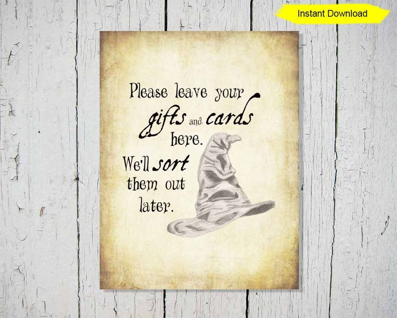 Sorting Hat Gift and Card Antique Sign  INSTANT DOWNLOAD  image 0