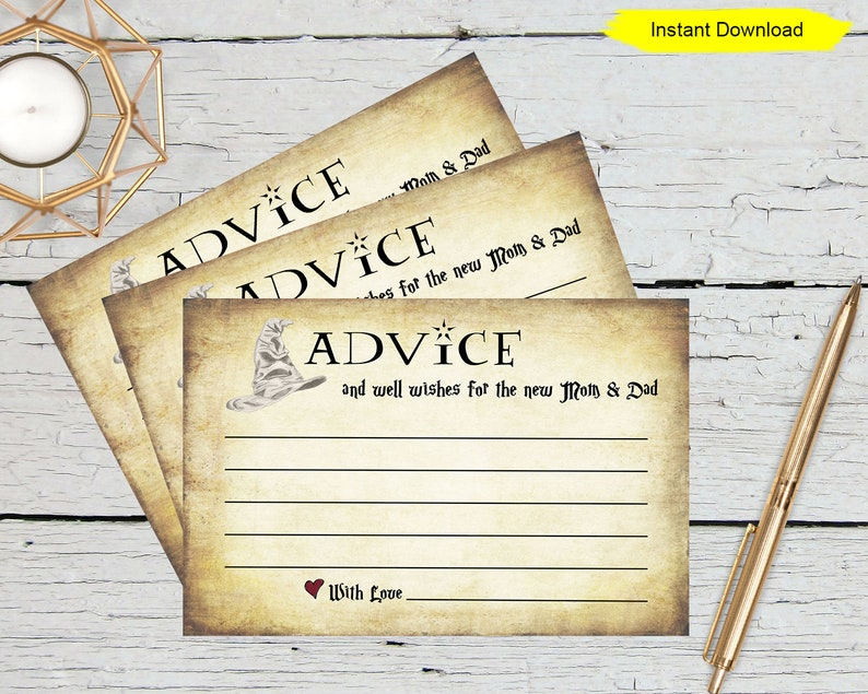 Advice For The New Mom and Dad Cards  INSTANT DOWNLOAD  image 0