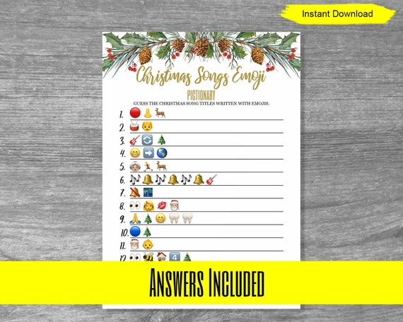 Christmas Songs Emoji Pictionary Game Instant Download Printable Digital Holly Berry Wintergreen Gold Font Bridal Shower Class Party