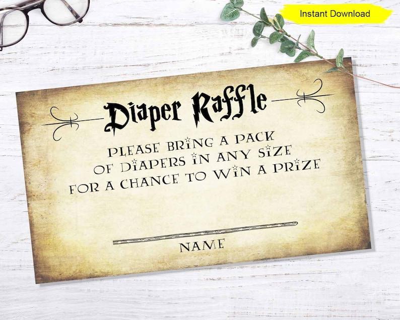 Diaper Raffle Invitation Insert  INSTANT DOWNLOAD  printable image 0