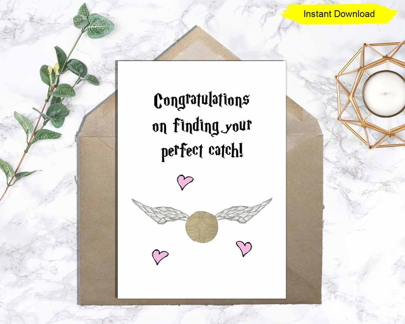 Congratulations On Finding Your Perfect Catch card  INSTANT image 0