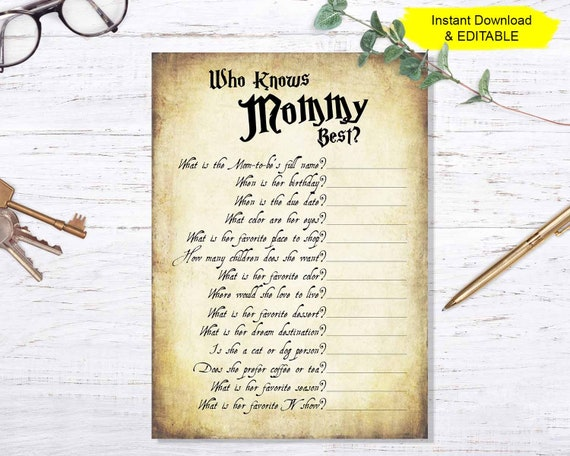 Who Knows Mommy Best Editable Pdf Template Instant Download