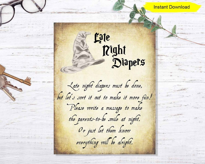 Baby Shower Late Night Diapers Game  INSTANT DOWNLOAD  image 0