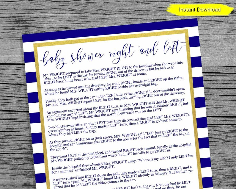 Nautical Right and Left Game - INSTANT DOWNLOAD - printable digital baby  shower activity marine navy blue gold ice breaker icebreaker ocean