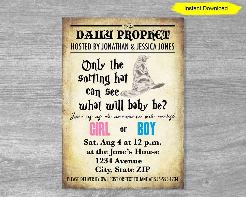 Gender Reveal Editable Template Invitation Instant Download Etsy