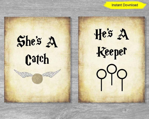 She's a catch he's a keeper Antique Sign - INSTANT DOWNLOAD - bridal