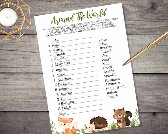 Woodland Baby Names Around The World Game - INSTANT DOWNLOAD