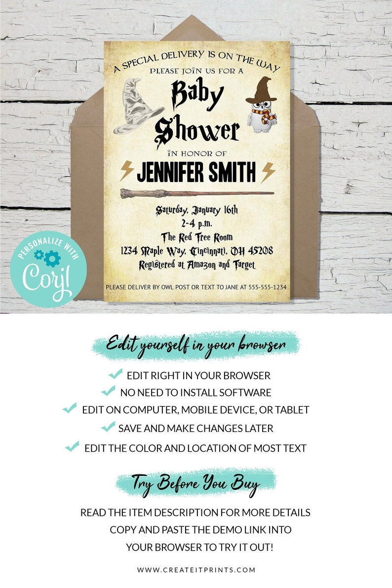 Baby Shower Editable Template Invitation  INSTANT DOWNLOAD image 0