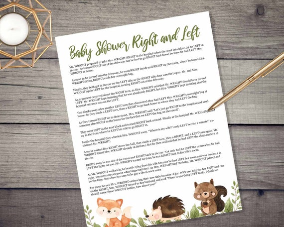 Woodland Animals Right and Left Game - INSTANT DOWNLOAD