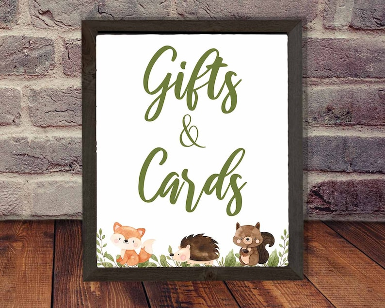 Woodland Cards and Gifts sign print  INSTANT DOWNLOAD  image 0