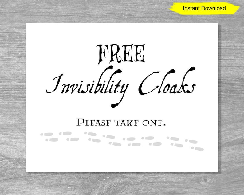 image about Free Printable Please Take One Sign called Cost-free Invisibility Cloaks Indicator - Fast Obtain - electronic invisible birthday social gathering decorations decor print banner marriage ceremony shower bridal