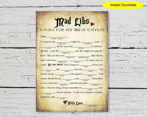 picture relating to Bridal Shower Mad Libs Free Printable called Bridal Outrageous Libs Recreation - Fast Down load - bridal shower