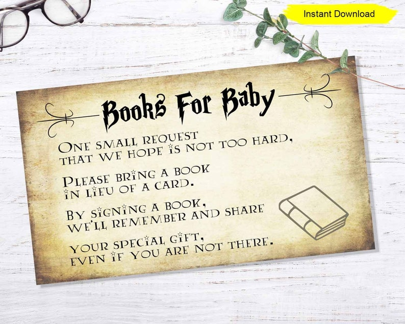 Books For Baby Invitation Insert  INSTANT DOWNLOAD  image 0