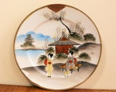 1 Vintage Japanese Eggshell Gold edge Geisha Pagoda Cake Plate signed wall decoration