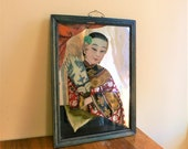 Antique Chinese Reverse glass painting Antique reverse painted Mirror 19thc Eglomise lady with fan