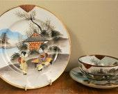 Vintage Japanese Kutani Tashiro Period Tea Cup Eggshell Porcelain Hand painted Gold Geisha Pagoda Trio Tea cup, saucer plate