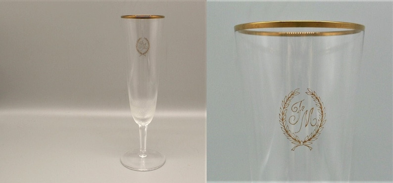 Rare Vintage MOSER ROYAL Champagne Glass SIGNED Monogram Czech Bohemian  hand blown lead free// more available
